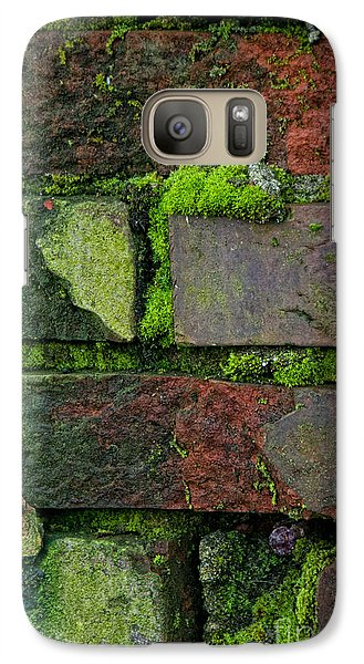 Galaxy Case featuring the digital art Mossy Brick Wall by Carol Ailles