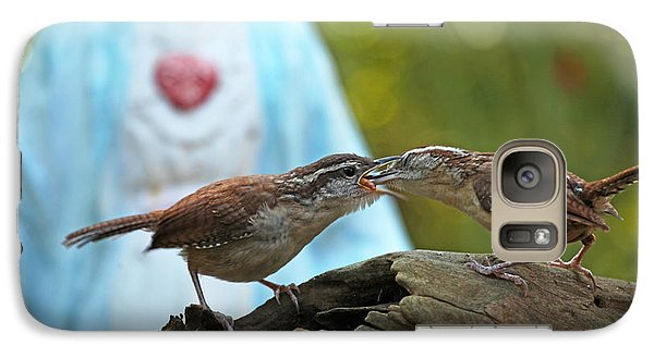 Galaxy Case featuring the photograph Mother Wren Feeding Juvenile Wren by Luana K Perez