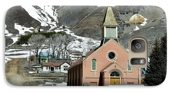 Galaxy Case featuring the photograph Mountain Chapel With Red Steps by Lorraine Devon Wilke