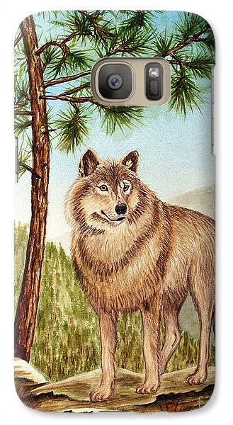 Galaxy Case featuring the painting Mountain Wolf by Judy Filarecki