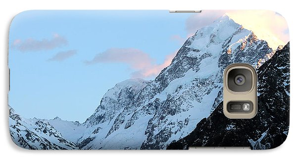 Galaxy Case featuring the photograph Mt. Cook With Sunlit Clouds by Laurel Talabere