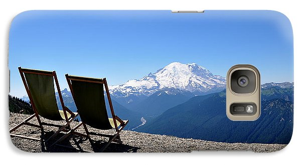 Galaxy Case featuring the photograph Mt. Rainier Chairs And Chipmunk by Tanya  Searcy