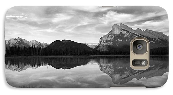 Galaxy Case featuring the photograph Mt. Rundel Reflection Black And White by Andrew Serff