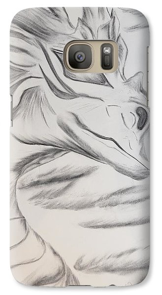 Galaxy Case featuring the drawing My Dragon by Maria Urso