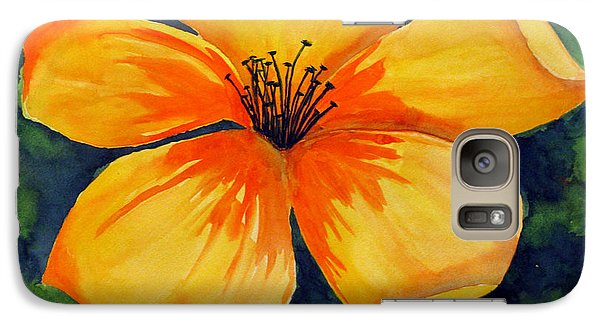 Galaxy Case featuring the painting Mysterious Yellow Flower by Debi Singer