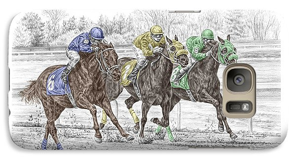 Galaxy Case featuring the drawing Neck And Neck - Horse Race Print Color Tinted by Kelli Swan
