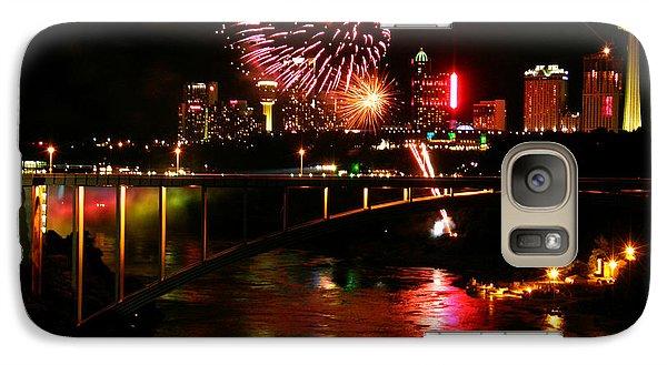 Galaxy Case featuring the photograph Niagara Falls Fireworks by Mark J Seefeldt