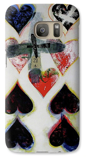 Galaxy Case featuring the painting Nine Of Hearts 21-52 by Cliff Spohn
