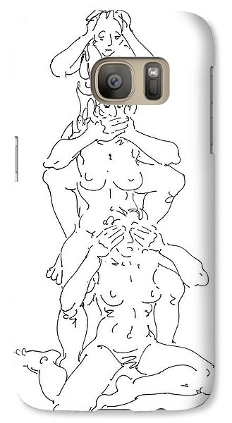 Galaxy Case featuring the drawing Nude Female Drawings 5 by Gordon Punt