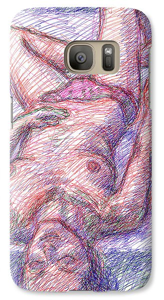Galaxy Case featuring the drawing Nude Female Sketches 6a by Gordon Punt