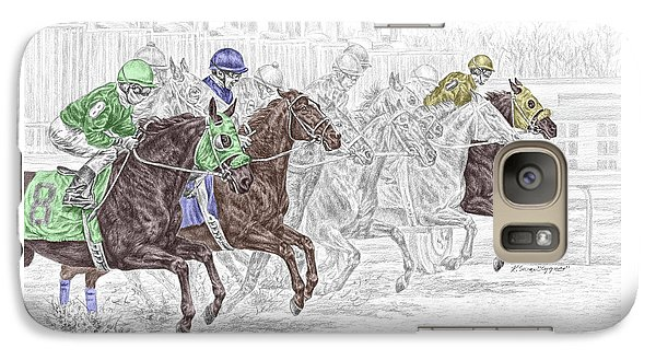Galaxy Case featuring the drawing Odds Are - Tb Horse Racing Print Color Tinted by Kelli Swan