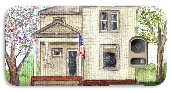 Galaxy Case featuring the painting Ohio Cottage With Flag by Clara Sue Beym