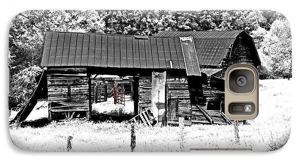 Galaxy Case featuring the photograph Old Barns With Red Gate by Susan Leggett