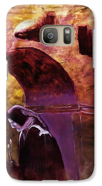 Galaxy Case featuring the painting Old Woman Lighting Candles In Cathedral In Purple And Yellow  by MendyZ M Zimmerman