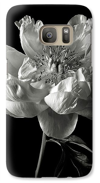 Galaxy Case featuring the photograph Open Peony In Black And White by Endre Balogh