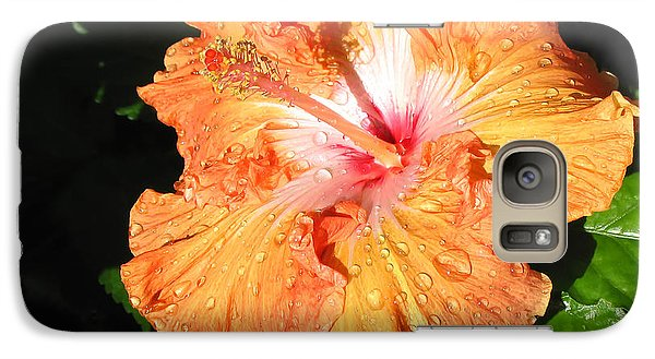 Galaxy Case featuring the photograph Orange Hibiscus After The Rain 1 by Connie Fox