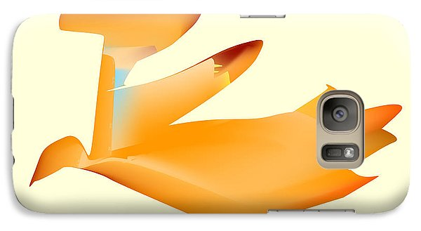 Galaxy Case featuring the digital art Orange Jetpack Penguin by Kevin McLaughlin