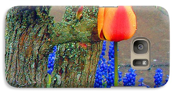 Galaxy Case featuring the photograph Orange Tulip And Bluebells by Richard James Digance