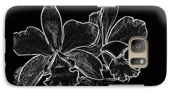Galaxy Case featuring the digital art Orchids - Black And White Abstract by Kerri Ligatich