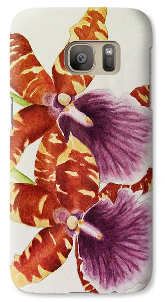Galaxy Case featuring the painting Orchids - Tiger Stripes  by Kerri Ligatich
