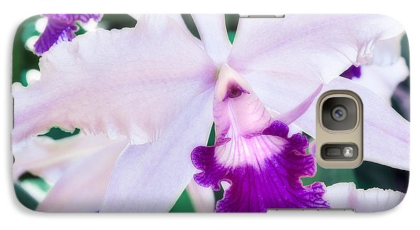Galaxy Case featuring the photograph Orchids White And Purple by Steven Sparks
