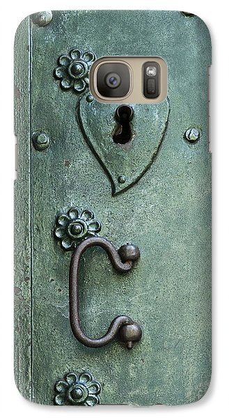 Galaxy Case featuring the photograph Ornamental Metal Doors In Teal by Agnieszka Kubica