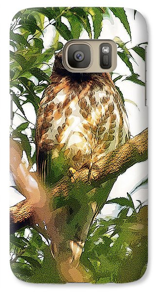 Galaxy Case featuring the digital art Owl In Contemplation by Pravine Chester