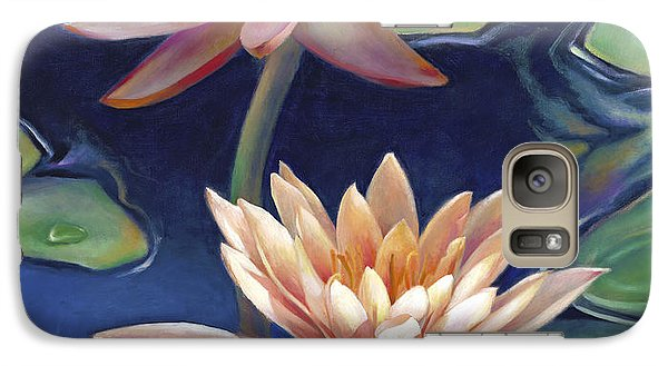 Galaxy Case featuring the painting Peachy Pink Nymphaea Water Lilies by Nancy Tilles
