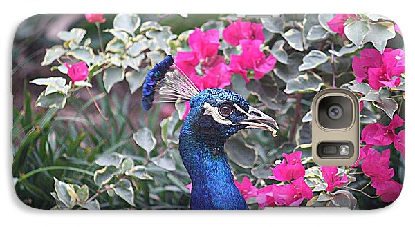 Galaxy Case featuring the photograph Peacock And Bouganvillas by Donna Smith
