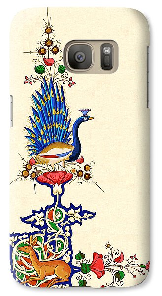 Galaxy Case featuring the painting Peacock And Fawn 2 by Raffaella Lunelli