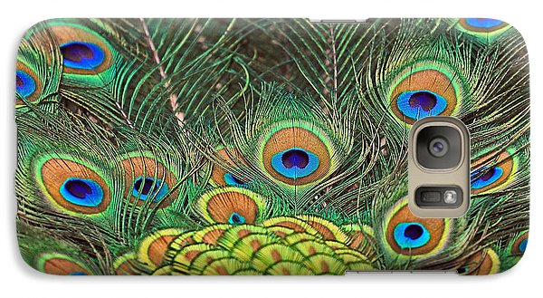 Galaxy Case featuring the photograph Peacock  Detail by Larry Nieland