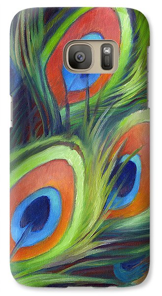 Galaxy Case featuring the painting Peacock Feathers by Nancy Tilles