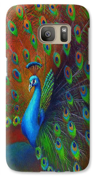 Galaxy Case featuring the painting Peacock Spread by Nancy Tilles