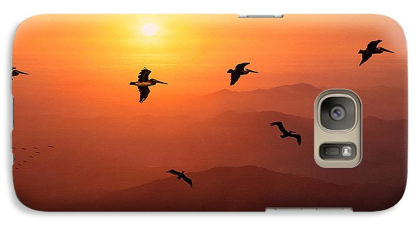 Galaxy Case featuring the photograph Pelican Migration by Chris Lord