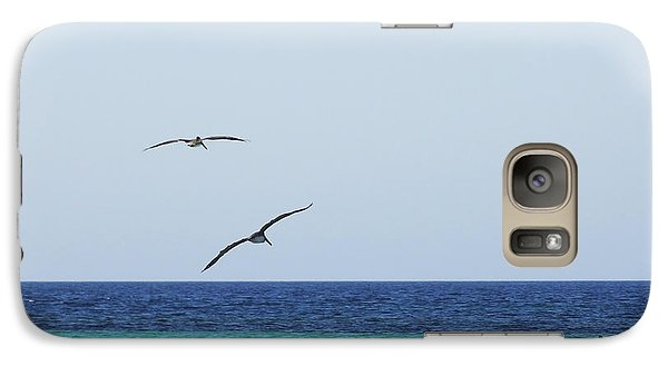 Galaxy Case featuring the digital art Pelicans In Flight Over Turquoise Blue Water.  by Anne Mott