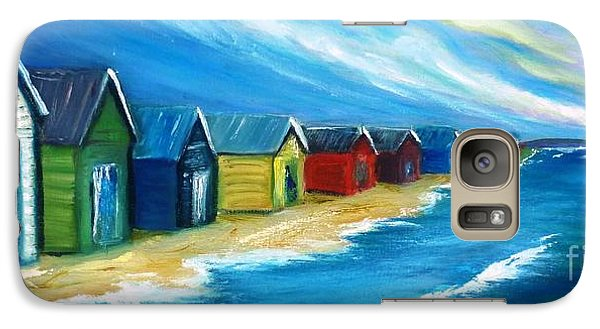 Galaxy Case featuring the painting Peninsular Boatsheds by Therese Alcorn