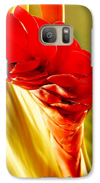 Galaxy Case featuring the photograph Photograph Of A Red Ginger Flower by Perla Copernik