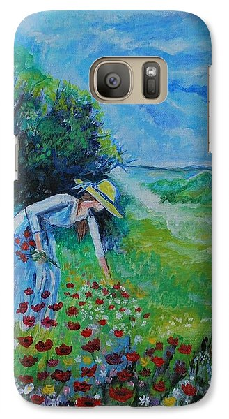 Galaxy Case featuring the painting Picking Flowers by Leslie Allen