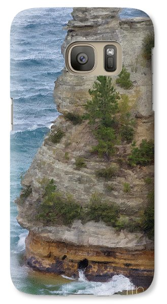 Galaxy Case featuring the photograph Pictured Rocks In Oil by Deniece Platt