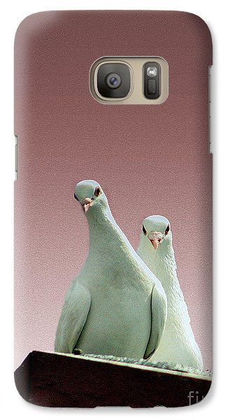 Galaxy Case featuring the photograph Pigeons In The Pink by Linsey Williams