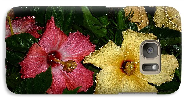 Galaxy Case featuring the photograph Pink And Yellow Hibiscus After The Rain by Renee Trenholm