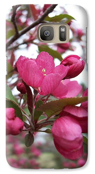 Galaxy Case featuring the photograph Pink Crabapple Blooms by Rebecca Overton
