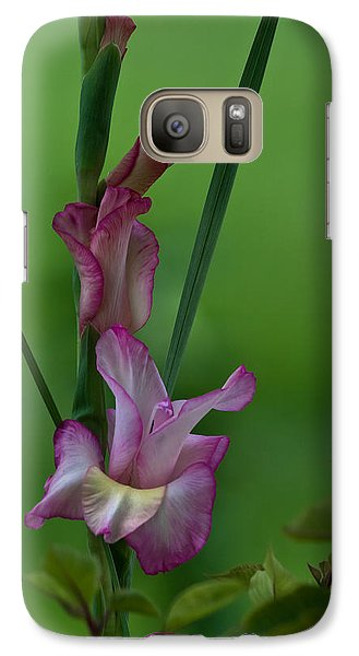 Galaxy Case featuring the photograph Pink Gladiolus by Ed Gleichman