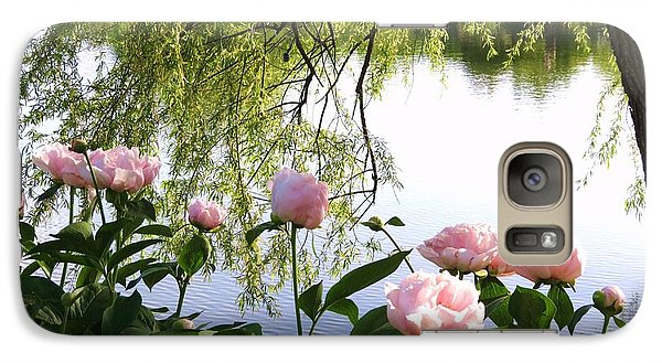 Galaxy Case featuring the photograph Pink Reflections Peonies by Rebecca Overton