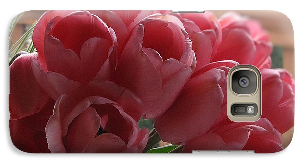 Galaxy Case featuring the photograph Pink Tulips In Vase by Katie Wing Vigil