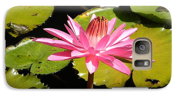 Galaxy Case featuring the photograph Pink Water Lilly With Frog by Jodi Terracina