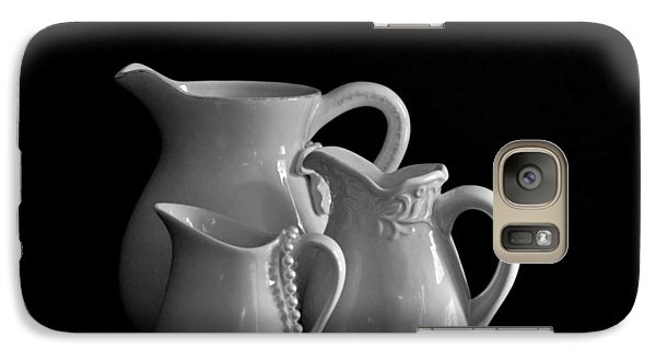 Galaxy Case featuring the photograph Pitchers By The Window In Black And White by Sherry Hallemeier