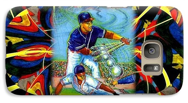 Galaxy Case featuring the mixed media Play Ball  Getting On Base by Ray Tapajna