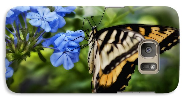Galaxy Case featuring the photograph Plumbago And Swallowtail by Steven Sparks