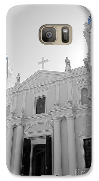 Galaxy Case featuring the photograph Ponce Puerto Rico Cathedral Of Our Lady Of Guadalupe Color Splash Black And White by Shawn O'Brien